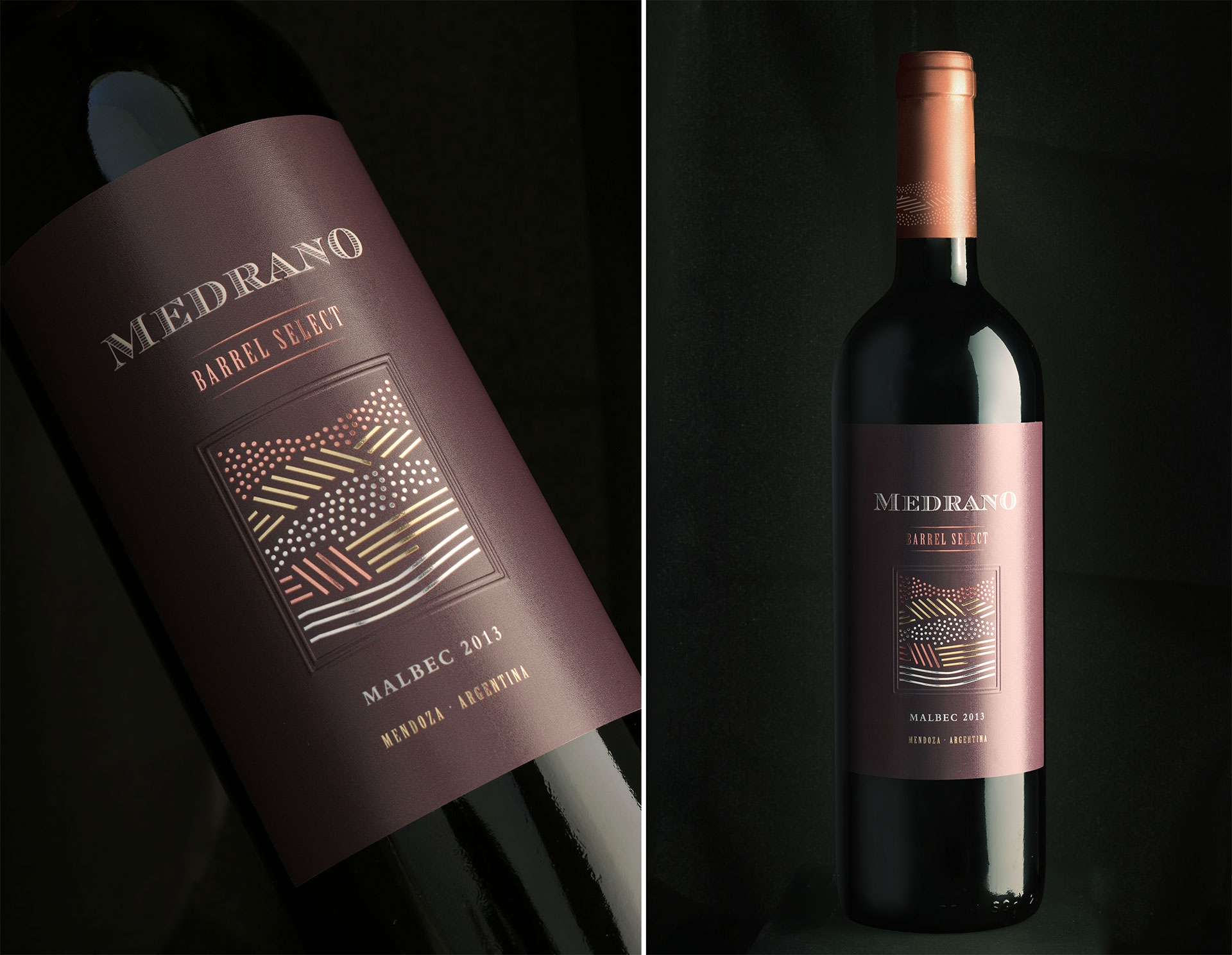 Wine Packaging Design. Medrano Barrel Select. Filus Wine.